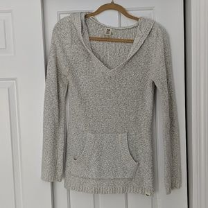 Roxy hooded cotton knit sweater